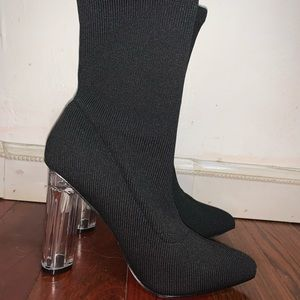 Clear heeled bootie